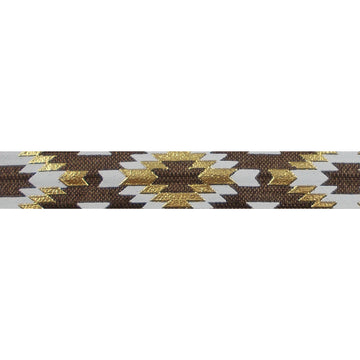 "Brown & Gold Southwestern Aztec - 5/8"" Metallic Printed Fold Over Elastic"