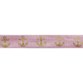 "Ballerina Pink & Gold Anchors - 5/8"" Metallic Printed Fold Over Elastic"