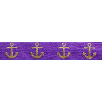 "Purple & Gold Anchors - 5/8"" Metallic Printed Fold Over Elastic"