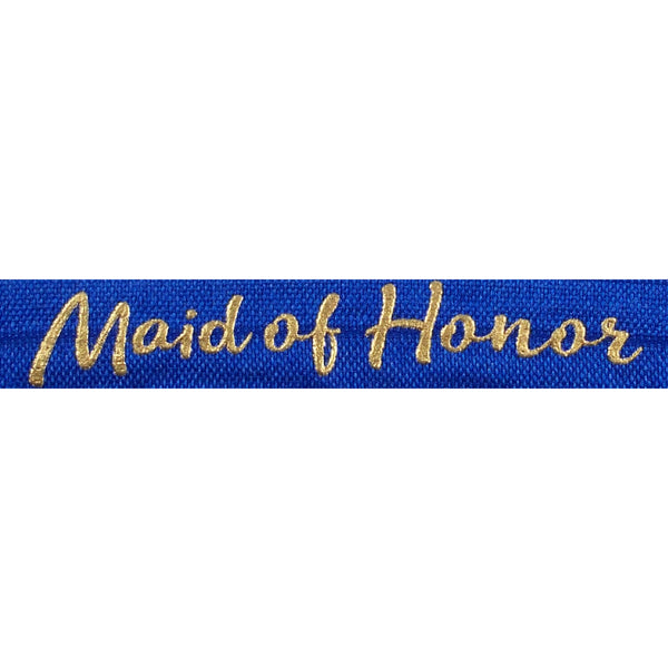 "Sapphire Blue & Gold Maid of Honor - 5/8"" Metallic Printed Fold Over Elastic"