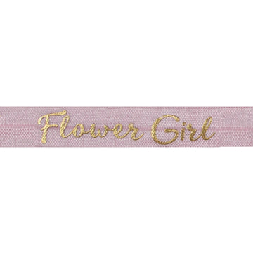 "Ballerina Pink & Gold Flower Girl - 5/8"" Metallic Printed Fold Over Elastic"