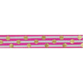 "Hot Pink & Gold Polka Stripes - 5/8"" Metallic Printed Fold Over Elastic"