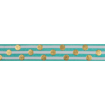 "Aquamarine & Gold Polka Stripes - 5/8"" Metallic Printed Fold Over Elastic"
