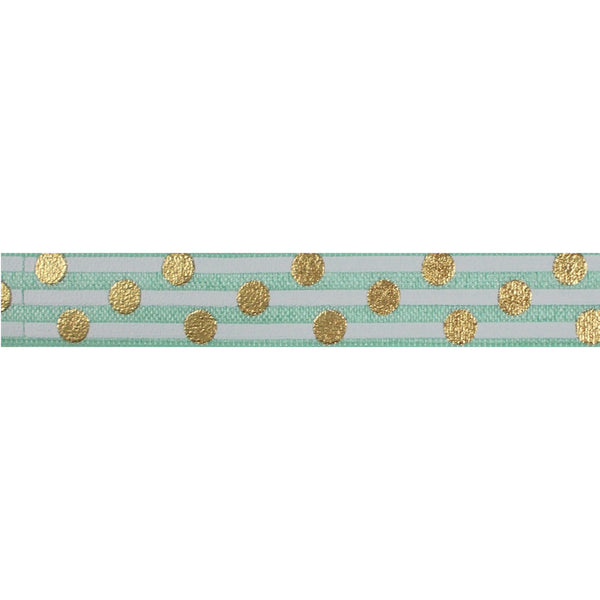 "Mint Green & Gold Polka Stripes - 5/8"" Metallic Printed Fold Over Elastic"