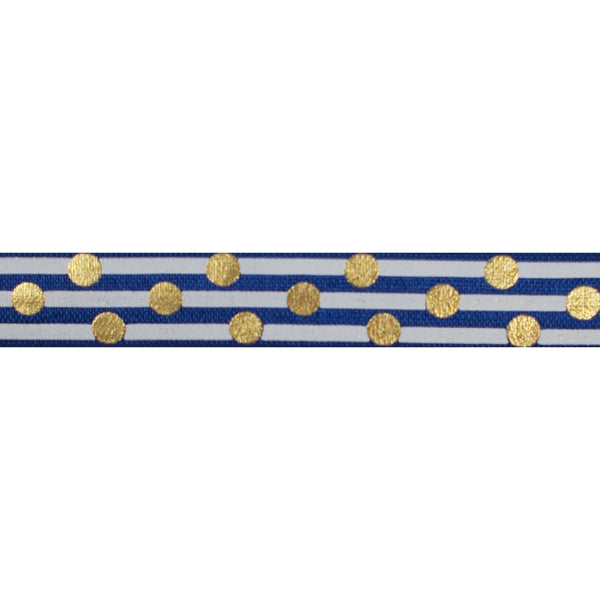 "Navy Blue & Gold Polka Stripes - 5/8"" Metallic Printed Fold Over Elastic"