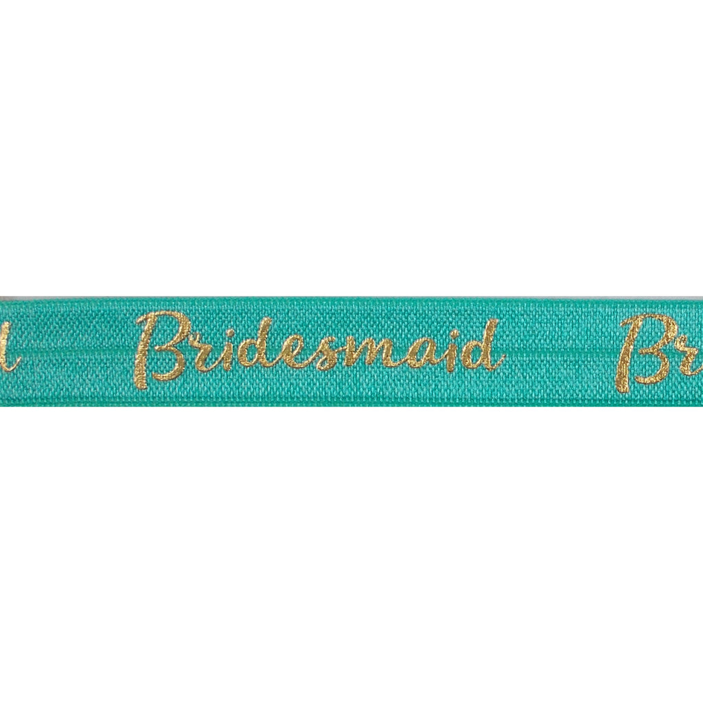 "Aquamarine & Gold Bridesmaid - 5/8"" Metallic Printed Fold Over Elastic"