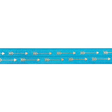 "Island Blue & Gold Straight Arrows - 5/8"" Metallic Printed Fold Over Elastic"