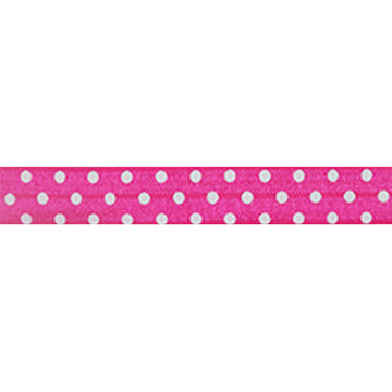 "Hot Pink & White Polka Dots - 5/8"" Printed Fold Over Elastic"