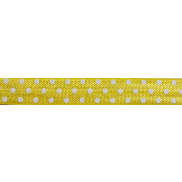 "Yellow & White Polka Dots - 5/8"" Printed Fold Over Elastic"