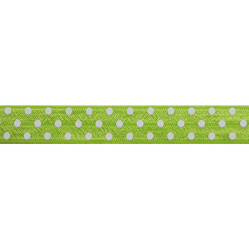 "Lime Green & White Polka Dots - 5/8"" Printed Fold Over Elastic"