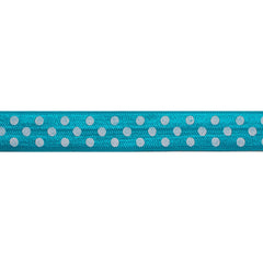 "Dark Aqua & White Polka Dots - 5/8"" Printed Fold Over Elastic"