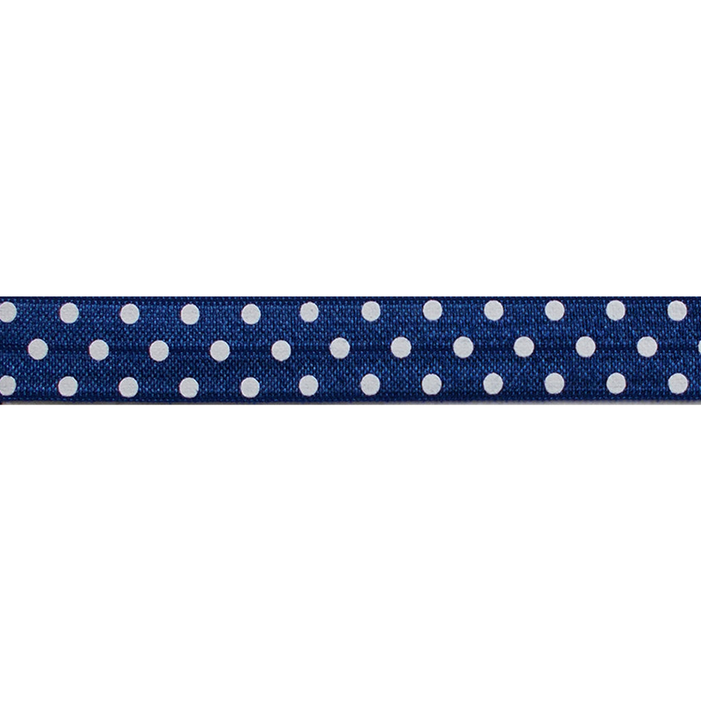 "Navy Blue & White Polka Dots - 5/8"" Printed Fold Over Elastic"