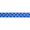 "Royal Blue & White Polka Dots - 5/8"" Printed Fold Over Elastic"
