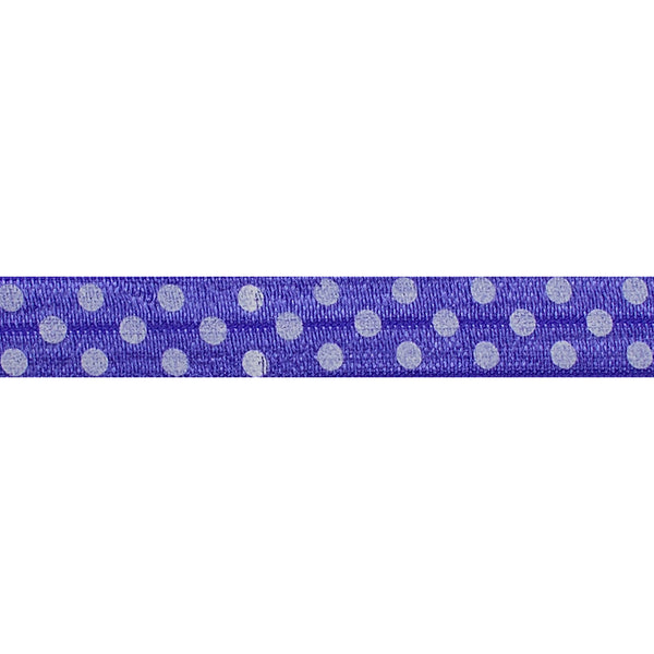 "Purple & White Polka Dots - 5/8"" Printed Fold Over Elastic"