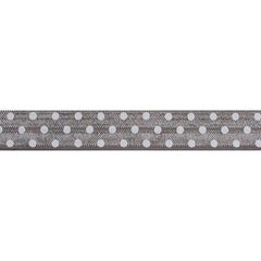 "Gray & White Polka Dots - 5/8"" Printed Fold Over Elastic"
