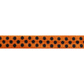 "Orange & Black Polka Dots - 5/8"" Printed Fold Over Elastic"
