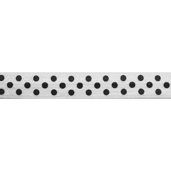 "White & Black Polka Dots - 5/8"" Printed Fold Over Elastic"
