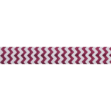 "White & Wine Chevron - 5/8"" Printed Fold Over Elastic"