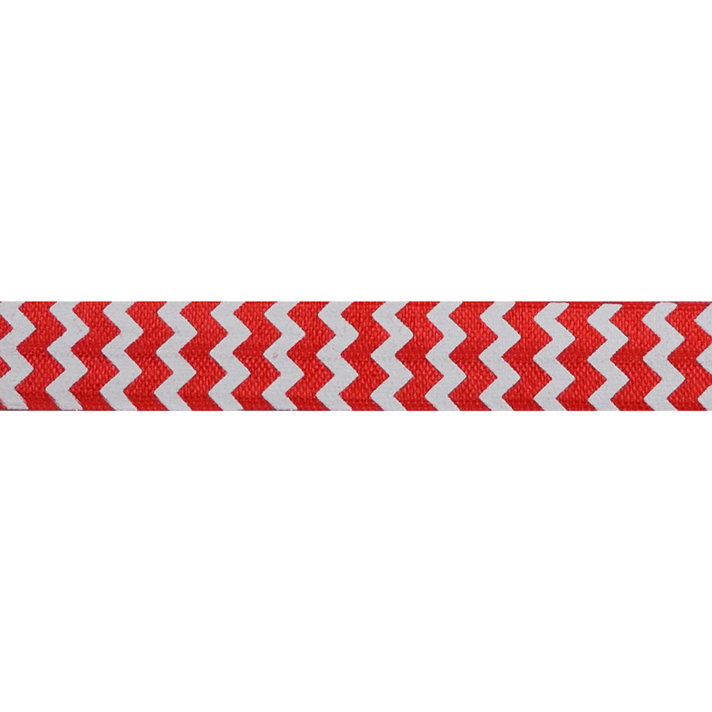 "White & Red Chevron - 5/8"" Printed Fold Over Elastic"