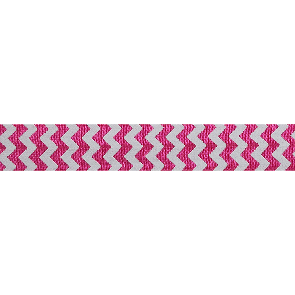 "White & Hot Pink Chevron - 5/8"" Printed Fold Over Elastic"
