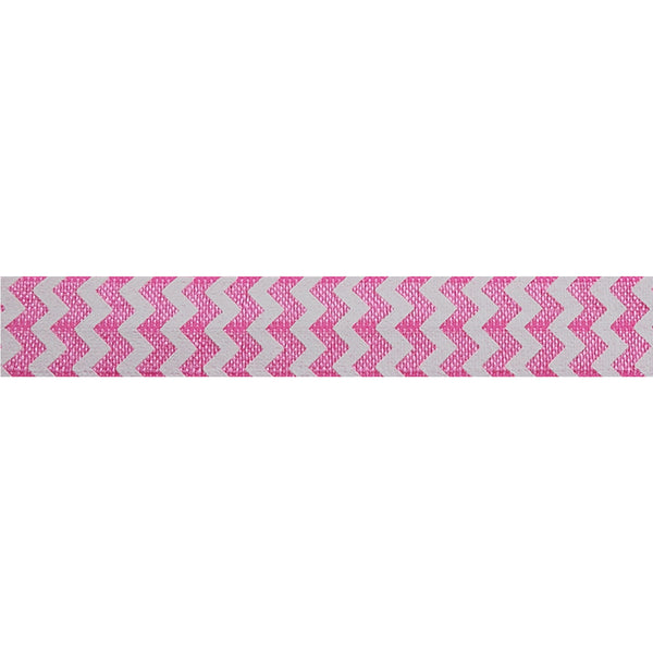 "White & Pink Chevron - 5/8"" Printed Fold Over Elastic"