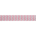 "White & Light Pink Chevron - 5/8"" Printed Fold Over Elastic"