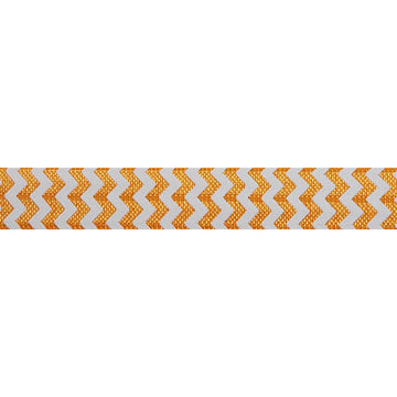 "White & Orange Chevron - 5/8"" Printed Fold Over Elastic"