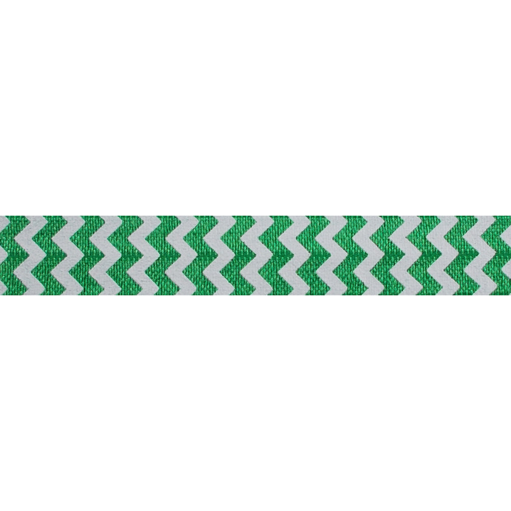 "White & Green Chevron - 5/8"" Printed Fold Over Elastic"