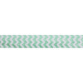 "White & Mint Green Chevron - 5/8"" Printed Fold Over Elastic"