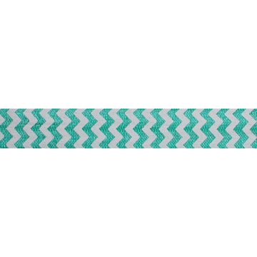 "White & Aquamarine Chevron - 5/8"" Printed Fold Over Elastic"
