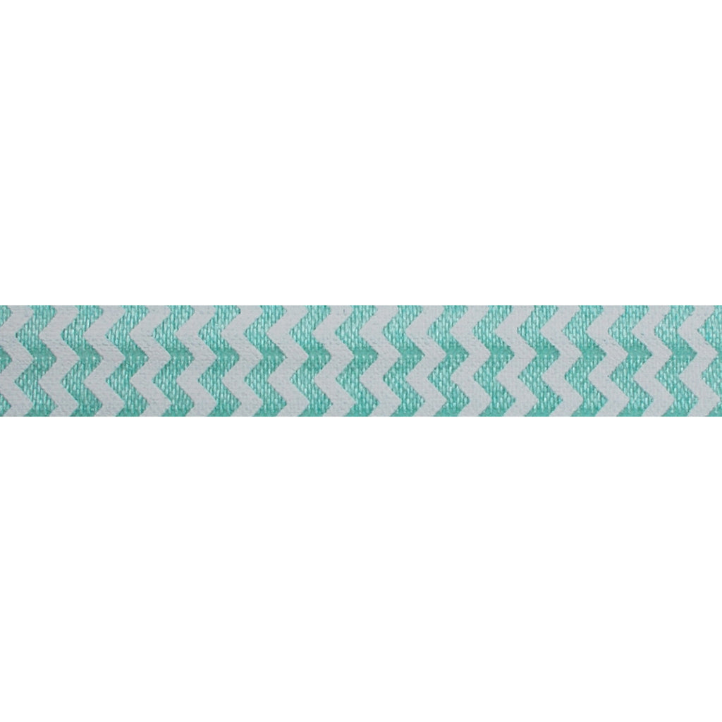 "White & Sea Foam Chevron - 5/8"" Printed Fold Over Elastic"