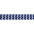 "White & Navy Blue Chevron - 5/8"" Printed Fold Over Elastic"