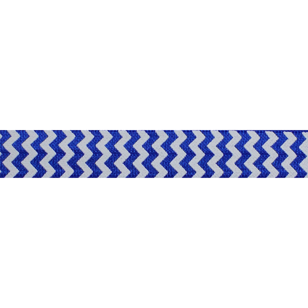 "White & Royal Blue Chevron - 5/8"" Printed Fold Over Elastic"