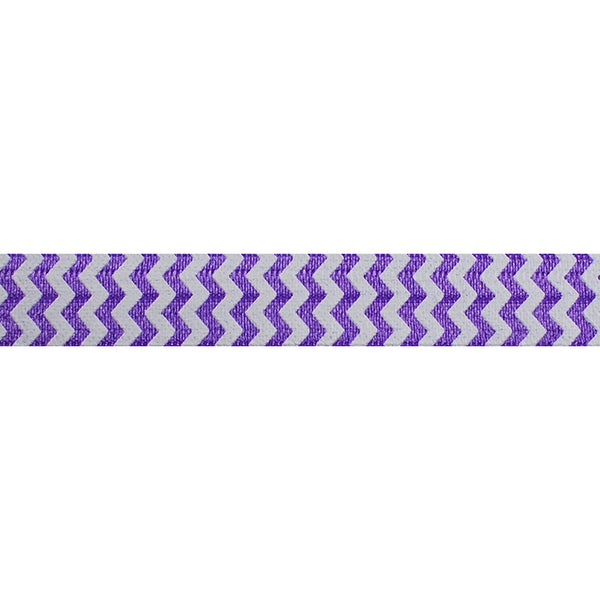 "White & Purple Chevron - 5/8"" Printed Fold Over Elastic"
