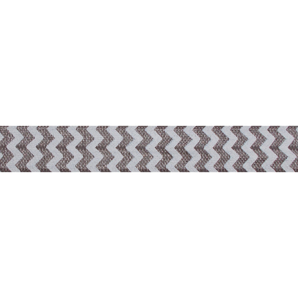 "White & Gray Chevron - 5/8"" Printed Fold Over Elastic"