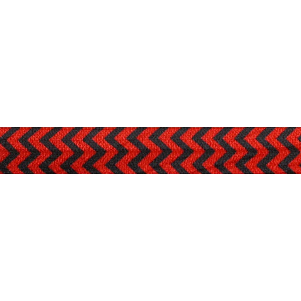 "Red & Black Chevron - 5/8"" Printed Fold Over Elastic"