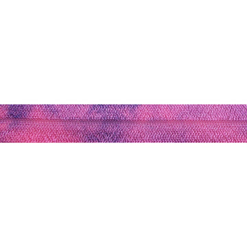 "Hot Pink & Navy Blue Tie Dye - 5/8"" Printed Fold Over Elastic"