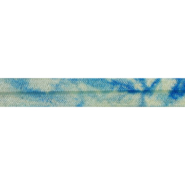 "Pale Yellow & Royal Blue Tie Dye - 5/8"" Printed Fold Over Elastic"