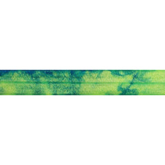 "Granny Smith Apple & Royal Blue Tie Dye - 5/8"" Printed Fold Over Elastic"