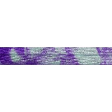 "Purple & Mint Green Tie Dye - 5/8"" Printed Fold Over Elastic"