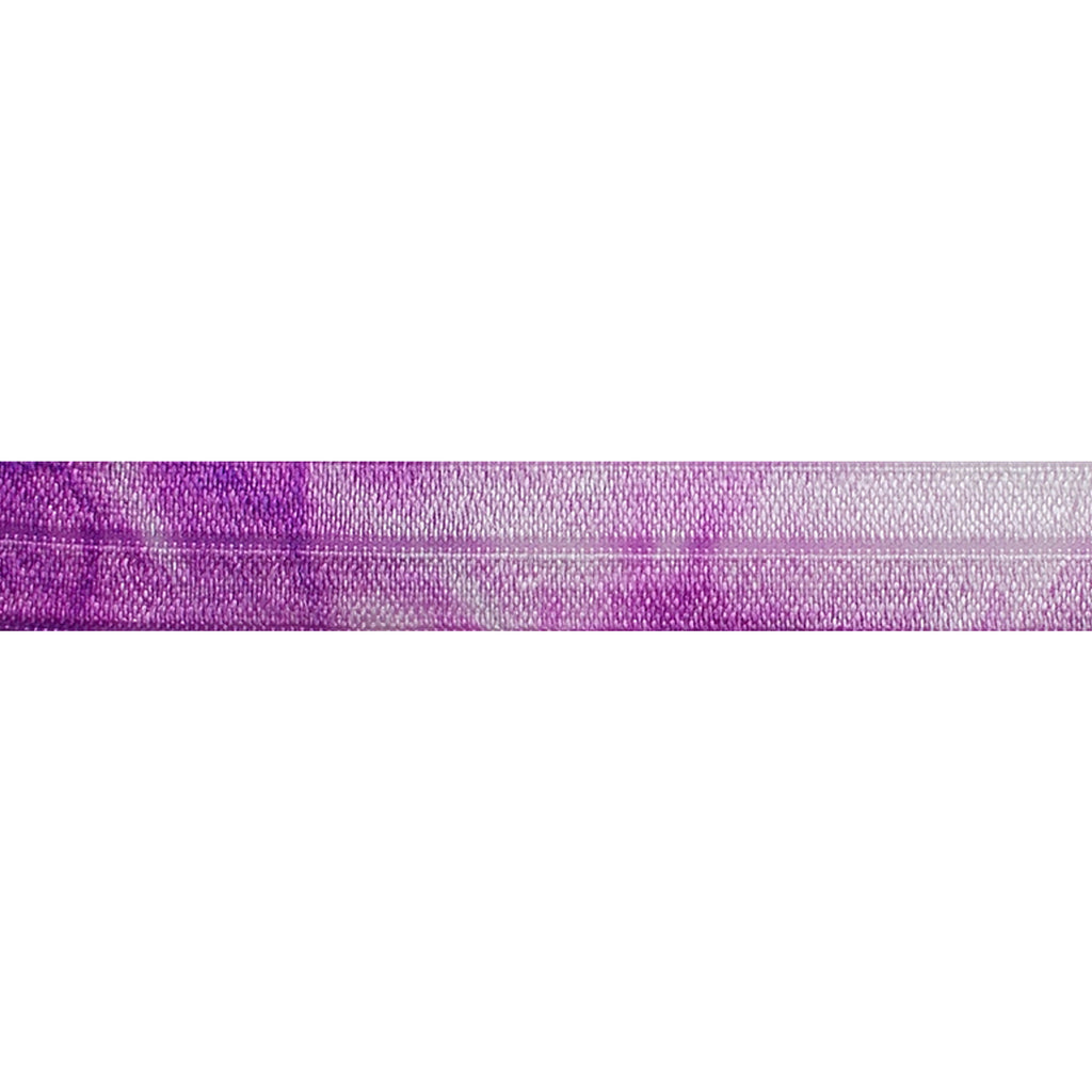 "Purple Tie Dye - 5/8"" Printed Fold Over Elastic"