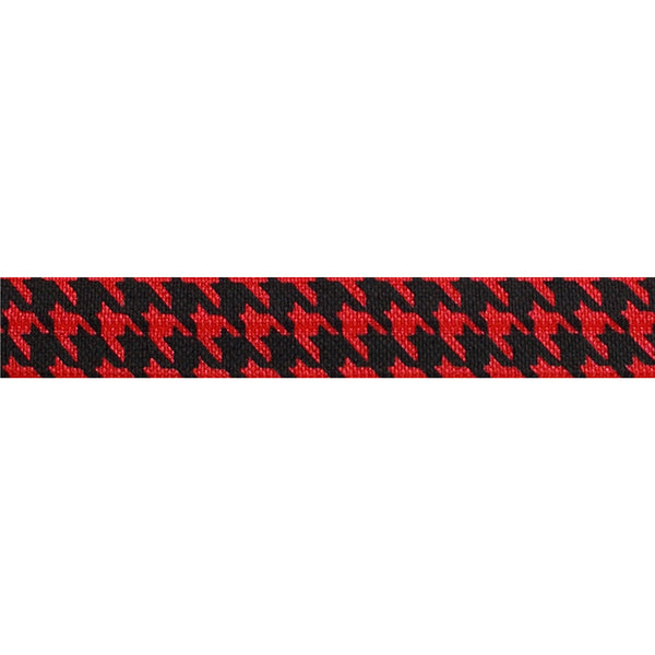 "Red & Black Houndstooth - 5/8"" Printed Fold Over Elastic"