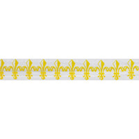"Yellow Fleur de Lis - 5/8"" Printed Fold Over Elastic"