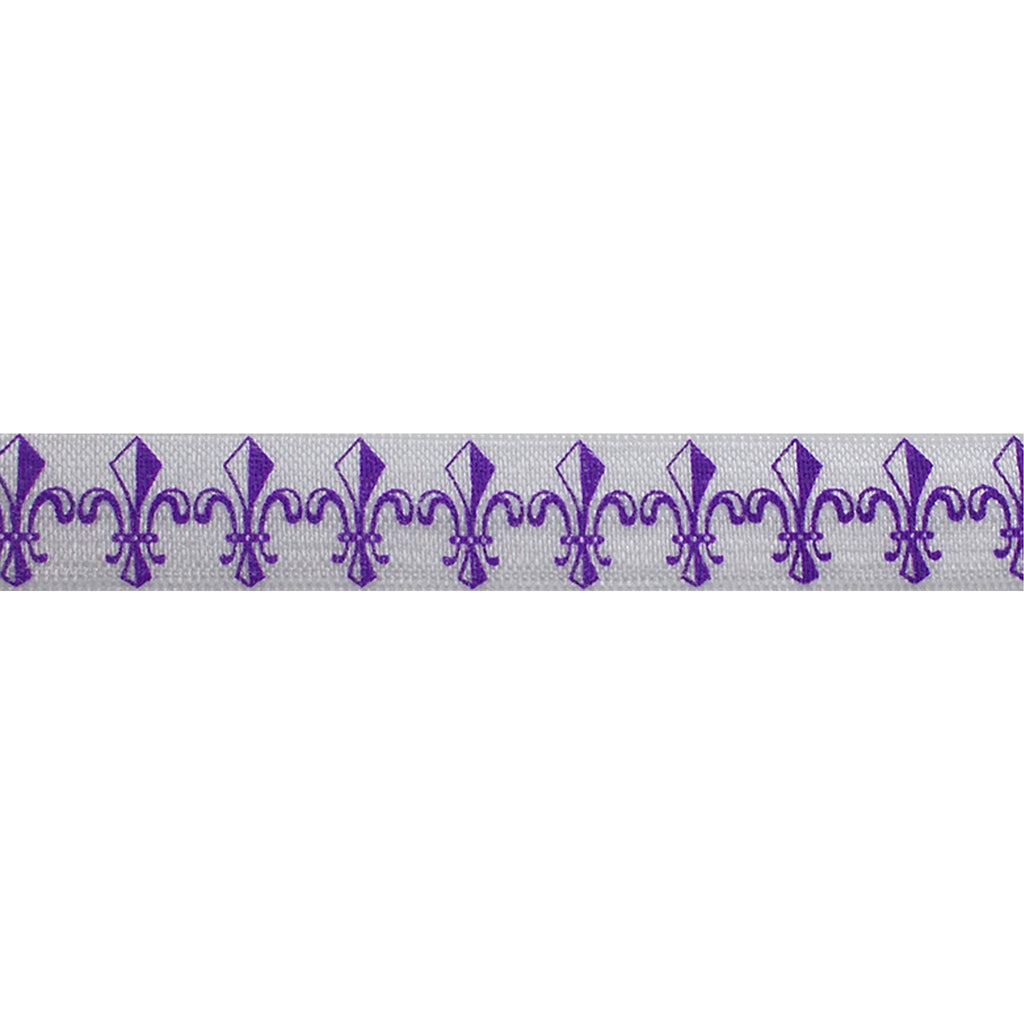"Purple Fleur de Lis - 5/8"" Printed Fold Over Elastic"