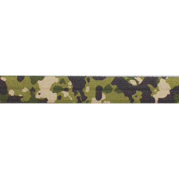 "Green Camo - 5/8"" Printed Fold Over Elastic"