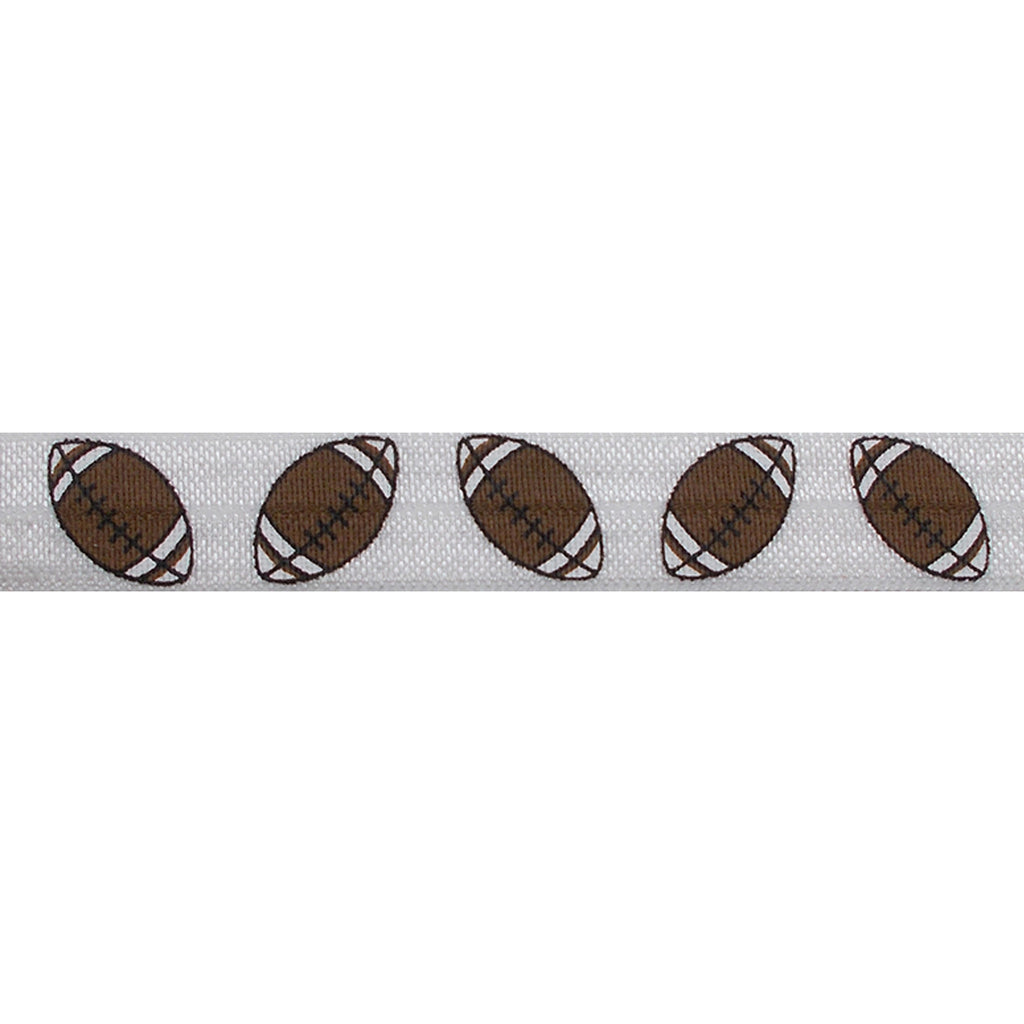 "Footballs - 5/8"" Printed Fold Over Elastic"