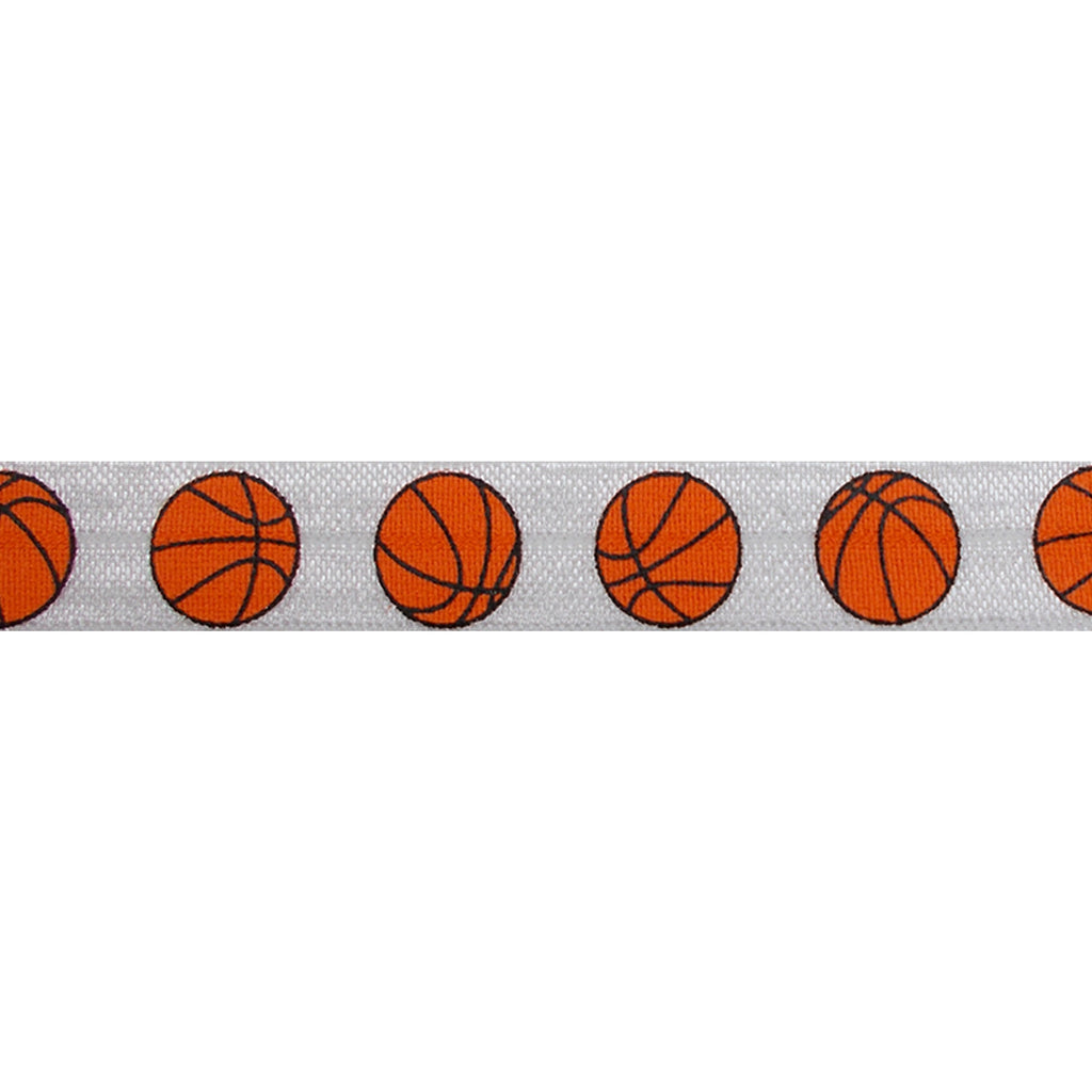 "Basketballs - 5/8"" Printed Fold Over Elastic"