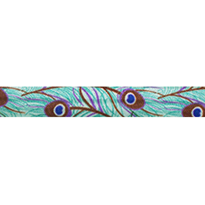 "Peacock - 5/8"" Printed Fold Over Elastic"