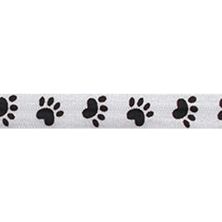 "Paw Print - 5/8"" Printed Fold Over Elastic"