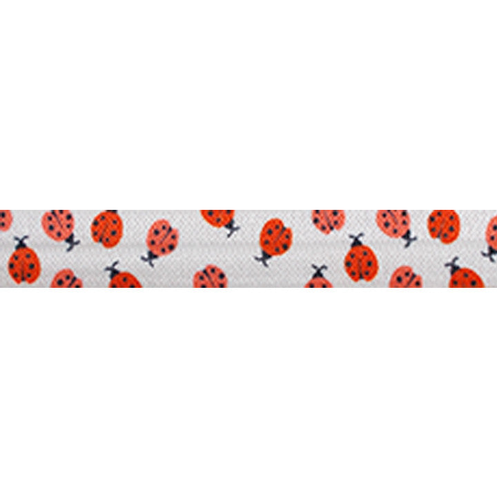 "Mini Ladybugs - 5/8"" Printed Fold Over Elastic"